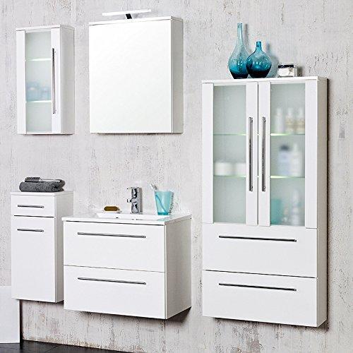 Komplett Badezimmer Set hochglanz weiß Badmöbel Waschplatz LED Spiegelschrank