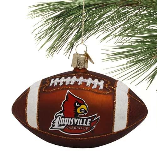 NCAA Louisville Cardinals Glass Football Ornament