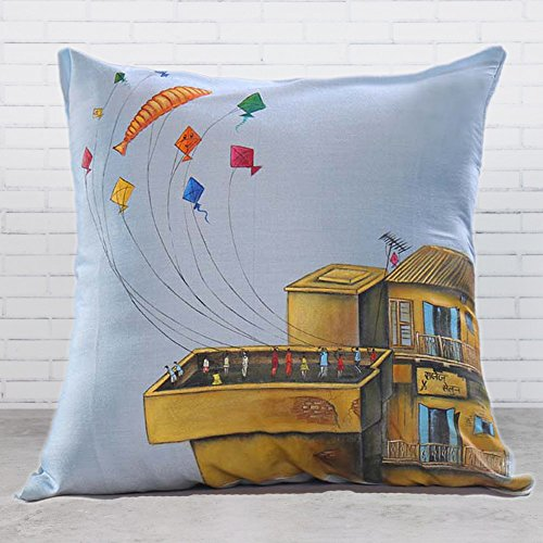 18 x 18 inch Square Decorative Hand Painted Kites Poly Cotton Throw Pillow Cushion Cover Case Sofa Chair Car Seat Pillowcase For Living Room, Kids, Study, Travel, By Klamod India (Pottery Barn Chairs Living Room)