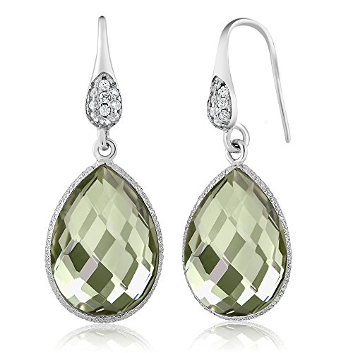 Gem Stone King 13.00 Ct Green Amethyst Pear Shape 925 Sterling Silver Dangle Gemstone Earrings
