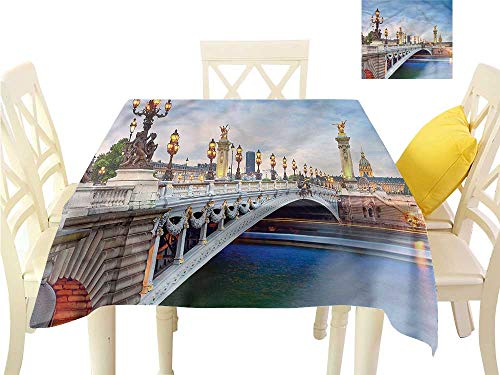 Davishouse Washable Table Cloth French Bridge Urban City Washable Polyester - Great for Buffet Table, Parties, Holiday Dinner, Wedding & More W36 x -