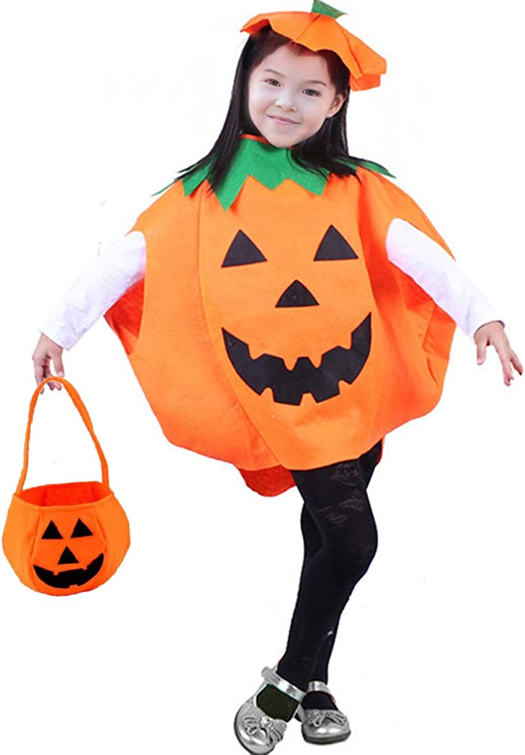 Halloween Pumpkin Costume for Kids Children Cosplay Party Unisex Including Pumpkin Clothes,Hat and Bag Yellow