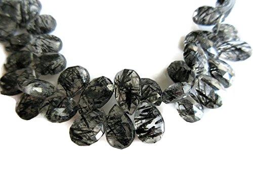 (8 Inch Strand, 3 Strands, Black Rutilated Quartz Pear Briolette Beads, 15-9mm Each, SKU-Rq3)