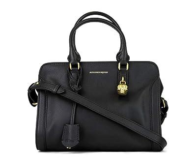 f4e01caa6aa2ee Alexander McQueen Women's Black Grain Leather Small Satchel Bag 419780 1000