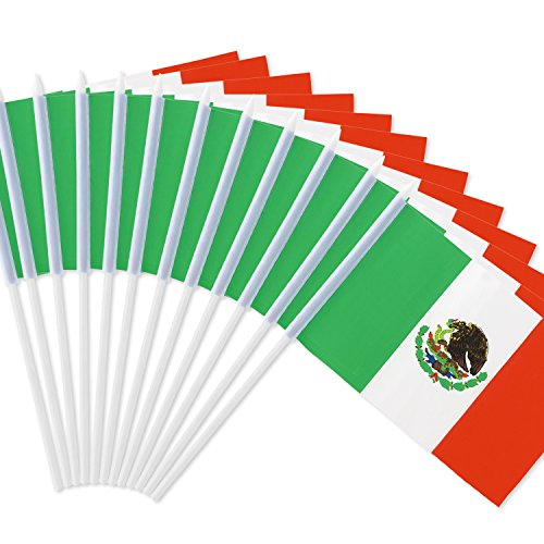 Anley Mexico Stick Flag, Mexican 5x8 inch HandHeld Mini Flag With 12 White Solid Pole - Vivid Color and Fade Resistant - 5 x 8 inch Hand Held Stick Flags With Spear Top (1 Dozen)