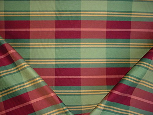 255H11 - Fern Green / Basil Green / Wine Red / Gold Satiny Cotton Plaid Designer Upholstery Drapery Fabric - By the Yard (Green Stripes Wine)