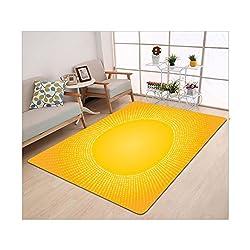 Kisscase Custom carpet Yellow Decor Moden Digital Image of the Sun with Sunshine in Cool Circle Pixels Art Mustard