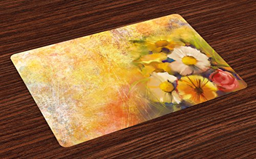 - Ambesonne Yellow Flower Place Mats Set of 4, Oil Painting Style Bouquet of Rose Daisy Gerbera Flowers Grunge Display, Washable Fabric Placemats for Dining Room Kitchen Table Decor, Mustard Orange