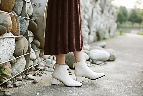 Moda Dedo Tobillo Otoño Antideslizante WSXY White 38 Botas El De hasta Q2404 Redondo Invierno KJJDE Botas Mujer SwOHxH