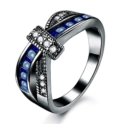 SSZSP White Gold Color Rings For Women Zircon Jewelry Wedding Women Rings For Engagement black navy blue (Channel Set Rainbow Gem)