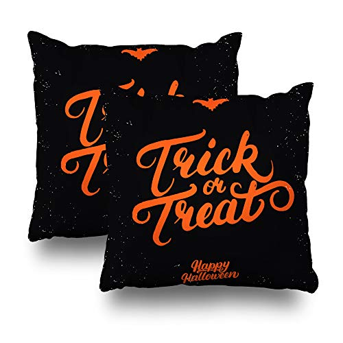 Alricc Set of 2 Trick Or Treat Hand Written Lettering and Bat Modern Inspirational Quote for Halloween Decorative Throw Pillows Cushion Cover for Bedroom Sofa Living Room 18X18 Inches