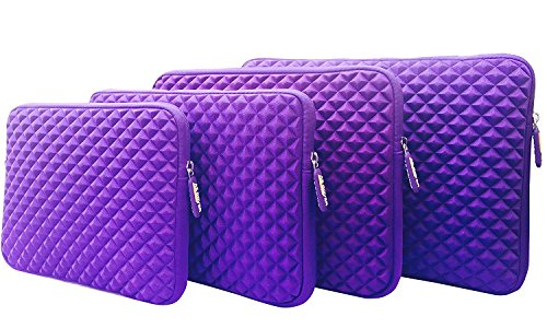 AZ-Cover 12.1-Inch Simplicity Stylish Diamond Foam Shock-Resistant Neoprene Sleeve (Purple) For Samsung Series 5 550 Chromebook 3G