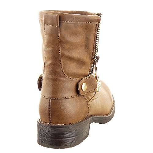 Sopily - Scarpe da Moda Stivaletti - Scarponcini Cavalier Low boots donna Catena Zip Tacco a blocco 3 CM - soletta sintetico - foderato di pelliccia - Cammello