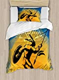Native American Twin Size Duvet Cover Set by Ambesonne, War Dance Ritual Against Ancient Totem Poly Effect Triangles Abstract, Decorative 2 Piece Bedding Set with 1 Pillow Sham, Pale Orange Blue