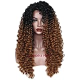 Best Goddess African American Wigs - Goddess Fashion Ombre Brown Long Curly Synthetic Hair Review