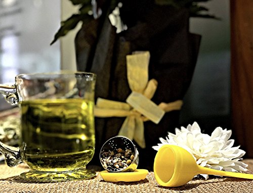 Leafy Love Gin Gin (Ginger Lavender Peppermint Chamomile Mix) - Helps with Inflammation, Bloating- Reduce Anxiety and stress- Caffeine Free - 3 Oz Herbal Tea Mix with a FREE Yellow Tea Infuser