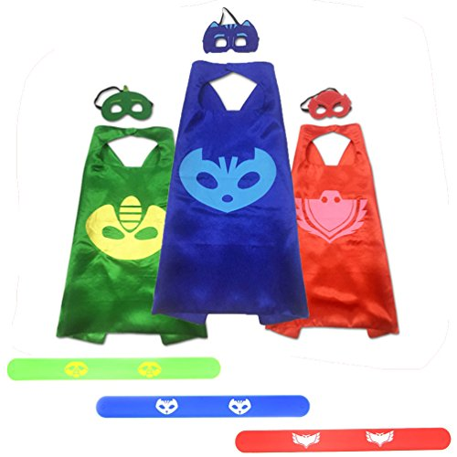 [CalorMixs Superhero Cape and Mask Costumes Set Fancy Dress Cosplay With Slap Bracelet For Kids Toddlers (Cartoon Costumes 3] (Toddler 80s Costumes)