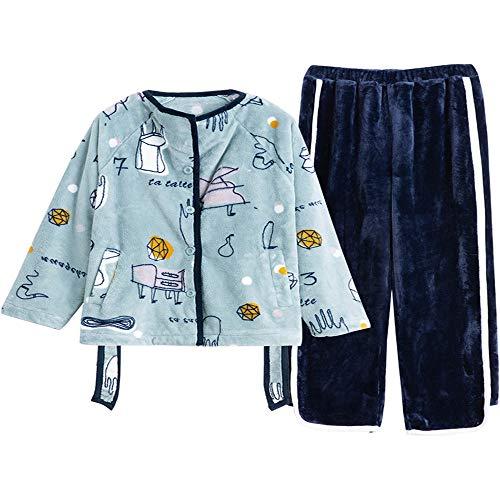 Las Para Hogar Blue Invierno Usar El Mujeres Mmllse Terciopelo Un Pueden Cárdigan Mantener Traje De Cálido Acolchados Pijamas KUa1AqF