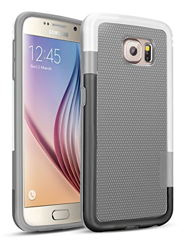 Galaxy S6 Case, TILL(TM) 3 Color Hybrid Dual Layer Shockproof Case [Extra Front Raised Lip] Soft TPU & Hard PC Bumper Protective Case Cover for Samsung Galaxy S6 S VI G9200 GS6 (Gray/White/Black)