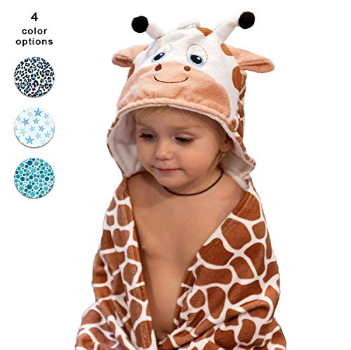 Hooded Baby Towel Set with Washcloth – Highly Absorbent Microfiber Material is Very Soft for Toddler Skin – Cute Animal Design for Boys and Girls – Large Bath Wrap with Hood for Kids (Giraffe)