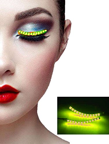 Umoney Waterproof LED Eyelashes, ZENUN Unisex Flashes Interactive Changing F. Lashes Luminous Shining Charming Eyelid Tape for Party Bar NightClub Concerts Birthday Gift Halloween - Yellow