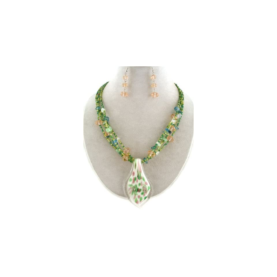 Fashion Jewelry ~ Green Murano Glass Charm Beads Necklace and Earrings Set