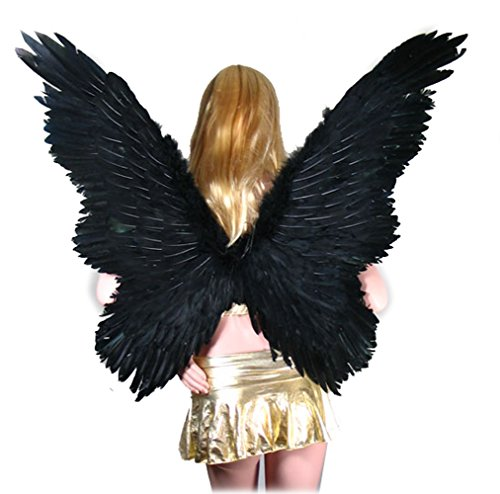 [SACASUSA (TM) Super Large Feather Butterfly Fairy Angel Wing in Black with Free Halo] (Angel Wings For Halloween Costumes)