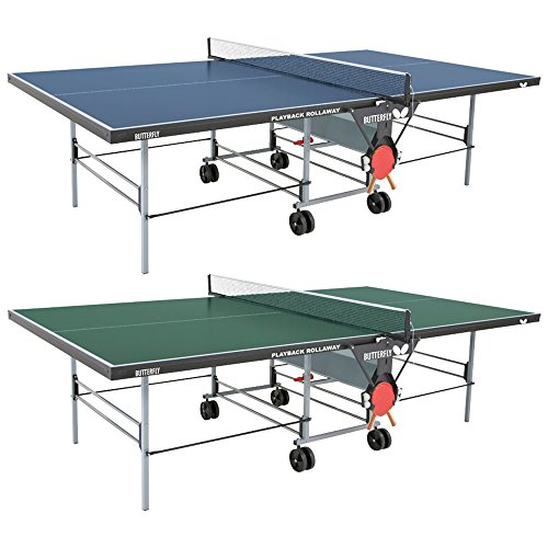 Butterfly Playback 19 Table Tennis Table - 3/4 Ping Pong Table Top - Folding Ping Pong Table with Wheels - Ping Pong Paddle and Balls Holder - Free Ping Pong Net