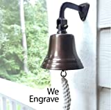 Engraved 5 Inch Antiqued Brass Ship Bell - 2.5 pounds
