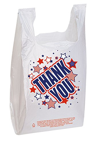 Thank You Bags (Americana Plastic T-Shirt Bags) - Case of 500-11 ½ x 6 x 21 inch