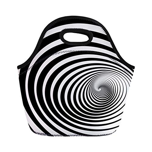Semtomn Neoprene Lunch Tote Bag Psychedelic Twist of Fate Hypnotic Spiral Twirl Circles Tunnel Reusable Cooler Bags Insulated Thermal Picnic Handbag for Travel,School,Outdoors,Work