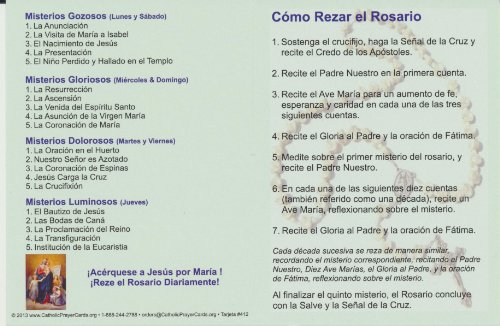 How to Pray the Rosary Holy Card Fold Over Pamphlet in Spanish Free Cross Bookmark