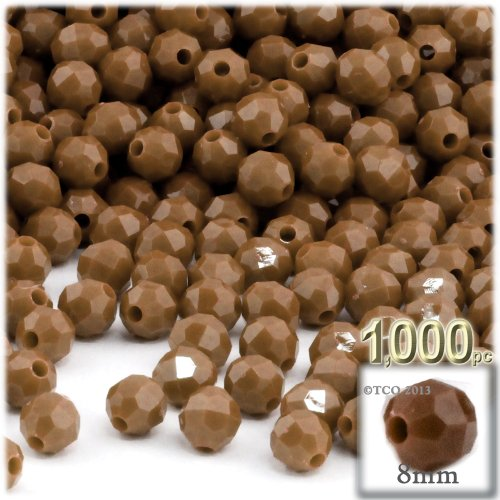 (1,000pc Plastic Round Opaque Faceted Beads 8mm Light Brown beads)