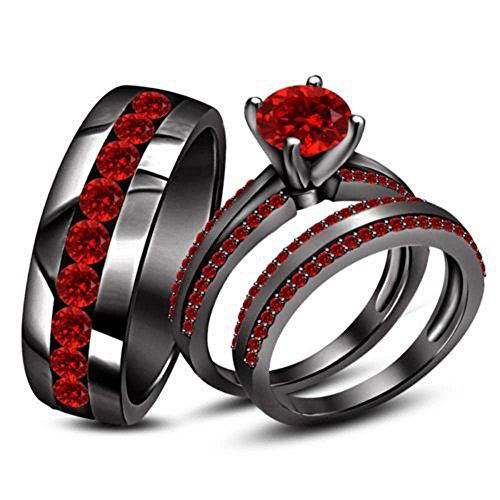 Silvercz Jewels Men's & Women's 14k Black Gold Fn Round Cut Red Garnet Trio Wedding Ring Set -