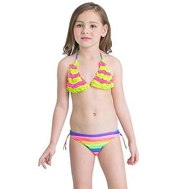 0e1dc3f8527ed Kaiki Girls Flowers Striped Swimwear 2Pcs Toddler Bathing Bikini Set  Outfits Swimsuit: Amazon.co.uk: Clothing