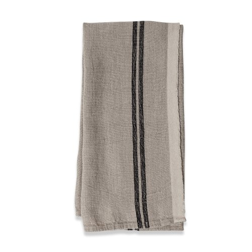 Caravan Collection by Couleur Nature Khadhi Tea Towels, 20-inches by 30-inches, Linen Black Stripe, Set of 2 (Tea Nostalgic Stripe Towel)