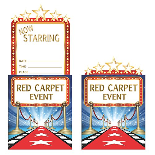 Classic Hollywood Movie Costumes (Creative Converting 8 Count Popup Hollywood Lights Invitation, Blue/Red/White/Gold)