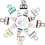 NBEADS 136PCS Assorted Color Wire Binder Clips Hollow Metal Clips Organizer Paper, School Office Supplies - 120 Pieces Drop Paper Clips, 8 Pieces 33MM 8 Pieces 19MM Wire Binder Clips