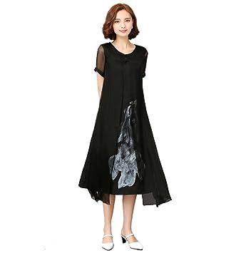 ZLL Mujer Corte Swing Vestido Noche Fiesta/Cóctel Tallas Grandes Vintage Sofisticado,Estampado Escote