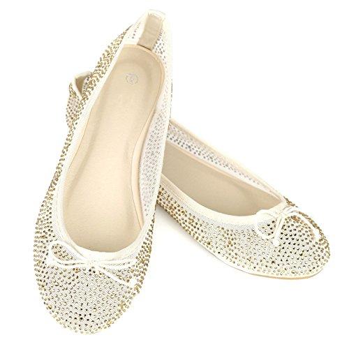 Womens Mesh Lace Sparkle Ballet Comfy Slip Op Ballerina Flats Schoenen Champagne