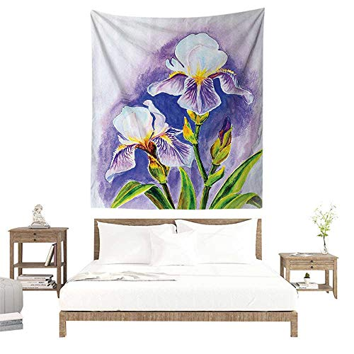 - alisoso Christmas Tapestry,Watercolor Flower Decor Collection,Painting of Iris Flower Elegant Spring Season Blooming Plant Nature Art,Violet G W47 x L47 inch Towel Throw Tapestry Decor