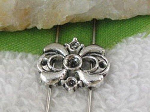 (FidgetFidget 80pcs Tibetan Silver 2 Holes Spacer Beads FC10425)