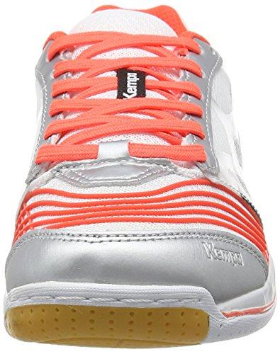 Kempa Attack Two Women - Zapatillas de baloncesto Mujer Multicolor (weiß/fluo rot/silber)