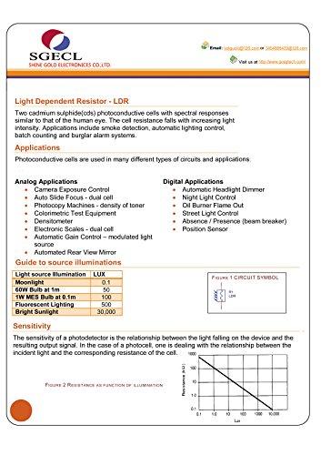 5pcs Photoresistor Photoconductive Cell Light Dependent Resistor 8 ...