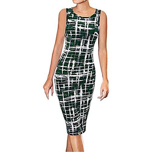 Rambling Summer New Women's Sleeveless Stripe Print Wear to Work Office Career Sheath Midi Dress Green