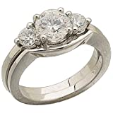 Platinum Three Stone Past Present Future Diamond Wedding Ring Set