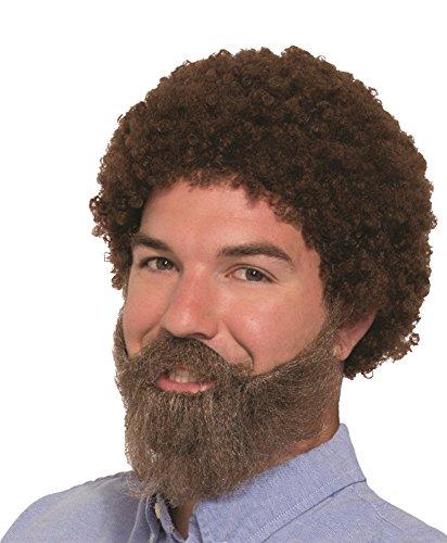 80s Guy Bob Ross Wig & Beard with (80s Guy Costume)