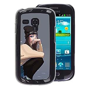 A-type Arte & diseño plástico duro Fundas Cover Cubre Hard Case Cover para Samsung Galaxy S3 MINI 8190 (NOT S3) (Grey Hipster Skate Punk Teenage Girl)