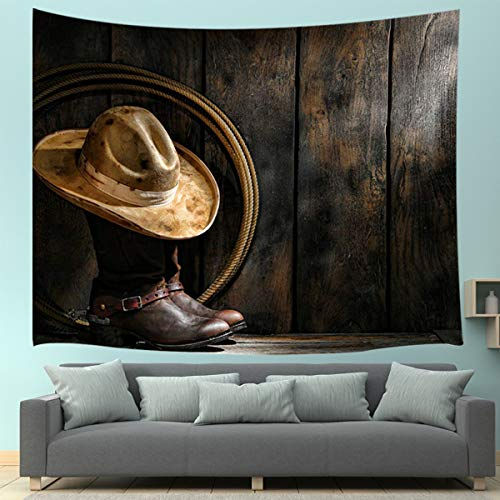 (JAWO Western Cowboy Style Tapestry, Wild American West Elements Cowboy Hat Farm House Tapestry Wall Hanging for Dorm Living Room Bedroom, Wall Blanket Decoration Art Home Decor 71X60 Inches)