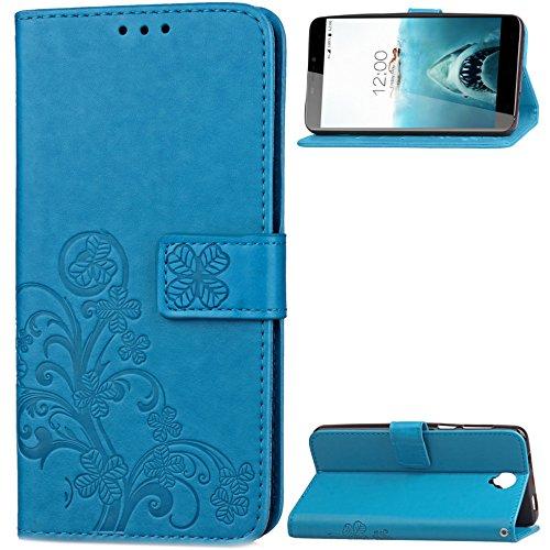 Qiaogle Teléfono Case - Funda de PU Cuero Billetera Clamshell Carcasa Cover para Lenovo K3 Note / K50-t5 4G LTE / A7000 (5.5 Pulgadas) - SD06 / Negro Lucky Clover SD03 / Azul Lucky Clover